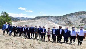 Bölge protokolü Çetintepe Barajı şantiyesinde inceleme yaptı