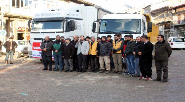 Çelikhan'dan İdlip'e 3 TIR Yardım Malzemesi