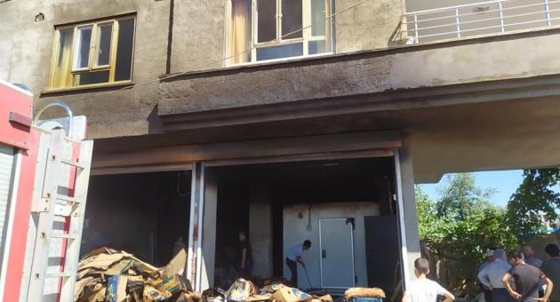 Kahta'da İş Yerinde Yangın