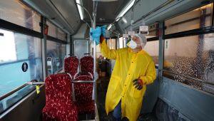 Otobüslerde Antibakteriyel Temizlik Çalışması Yapıldı