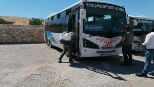 Şehir içi minibüsler dezenfekte edildi